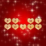 Be my lover 3. 3d golden hearts, red letters, text - be my lover, background stars, lights Royalty Free Stock Photo