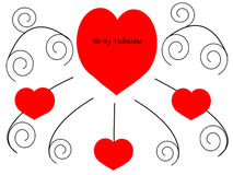 Be my Valentine. In the middle of the black ornaments a huge red heart with the words Be my Valentine. On the branches below are three hearts Royalty Free Stock Image