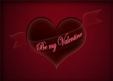 Be my Valentine. Dark red heart with the banner Be my Valentine on a dark red background Stock Photography
