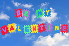 Be my valentine. This is love note Be my Valentine, with sky and clouds in background Stock Photography