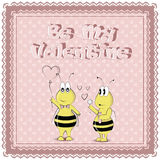 Be My Valentine. St. Valentine`s Day. Icons, Banners, Card Design. Cartoon Characters Set. Bees stock illustration