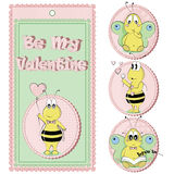 Be My Valentine. St. Valentine`s Day. Icons, Banners, Card Design. Cartoon Characters Set. Bees. Butterflies royalty free illustration