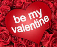 Be my valentine. On red heart on many roses Royalty Free Stock Photo