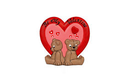 Be my valentine. Porcelian teddy bears with saying be my valentine over red and pink hearts Royalty Free Stock Photography