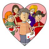 Be my Valentine. This illustration that I created depicts a group of girls and a bewildered young man Stock Photo