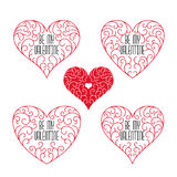 Be my Valentine badges. Frames in outline style on a white background. Valentine`s banners with hearts Royalty Free Stock Photo
