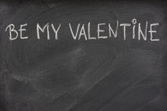Be my Valentine on a blackboard Stock Photo