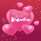 Be my Valentine calligraphic lettering design card template. Creative typography for holiday greetings. Vector illustration. Be my Valentine calligraphic royalty free illustration