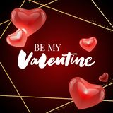 Be my Valentine calligraphic lettering design card template. Creative typography for holiday greetings. Vector illustration. Be my Valentine calligraphic vector illustration