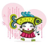 Be my valentine card 2. Cute asian girl in funny costume Royalty Free Stock Photos