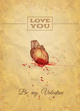 Be My Valentine Card with Anatomy Sketch. Vector illustration, eps10. Royalty Free Stock Image