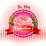 Be my valentine card beautiful flower vector illustration