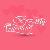 Be my valentine card for calligraphic text Royalty Free Stock Image