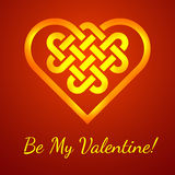 Be My Valentine card with a Celtic heart shape knot,  illustration Stock Image