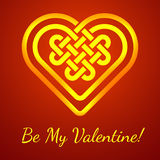 Be My Valentine card with a Celtic heart shape knot, vector illustration. (glowing heart shape on deep red background Royalty Free Stock Photography