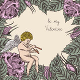 Be my Valentine card with cupid and roses Stock Photos