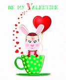 Be my Valentine card with cute cartoon bunny in  hat. With ear flaps, scarf and mittens holding red heart balloon, sitting in green cup with polka dots and Stock Photos