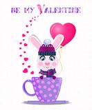 Be my Valentine card with cute rabbit in violet knitted hat Royalty Free Stock Images