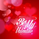Be my Valentine card design with hearts. Royalty Free Stock Image