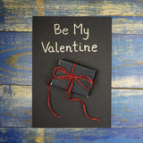 Be My Valentine card with gift box Royalty Free Stock Photo