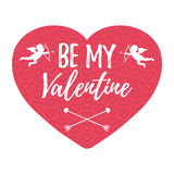 Be My Valentine Card with hearts, angel and arrow. Isolated vect Royalty Free Stock Photo