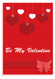 Be my Valentine card. With hearts and ribbon on a red background Royalty Free Stock Photos