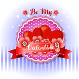 Be my valentine card red flower royalty free illustration
