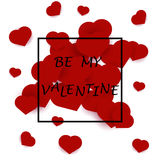 Be my valentine card with red hearts Stock Photo