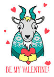 Be my Valentine card. Vector goat in a sweater with heart. Funny illustration for s day Royalty Free Stock Images