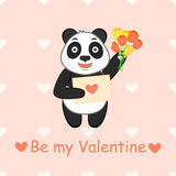 Be my Valentine. Cartoon  illustration with funny panda, love letter and bouquet of tulip. Stock Photo