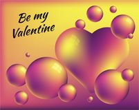 Be my Valentine. Colorful abstract background with heart and bright spheres. Romantic illustration is great for invitation, card, product packaging, header Stock Images
