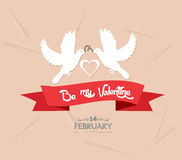 Be my valentine with couple bird Royalty Free Stock Photo
