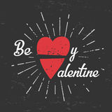 Be my valentine creative concept. february 14 postcard design. Vintage valentine's day banner. Love t-shirt illustration Stock Image