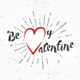 Be my valentine creative concept on grunge background. february 14 postcard design. Vintage valentine's day banner. Love Stock Image
