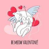 Be My Valentine - Cupid Cat Illustration. Stock Images