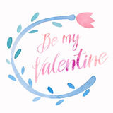 Be my Valentine cute kawaii watercolor holiday card layout, wreath with calligraphic lettering Royalty Free Stock Photos
