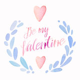 Be my valentine, cute kawaii watercolor wreath with lettering and heart, holiday card layout Stock Photos