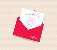 be my valentine day greeting card with envelope balloons Royalty Free Stock Photography