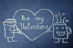 Be my Valentine is drawning on the chalkboard Stock Photography