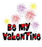 Be My Valentine Fireworks Stock Image