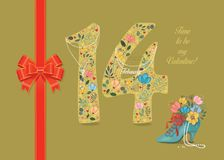 Be My Valentine. Floral Number 14 with collar. Time to Be My Valentine. Number Fourteen with folk floral decor. Pearl collar with texts as pendants - February vector illustration