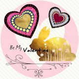 Be my Valentine. A gold rabbit.  Vector Illustration. Be my Valentine. A gold rabbit. Trendy gold style perfect for valentines day, birthday, save the date Royalty Free Stock Photo