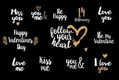 Be my Valentine on golden heart Royalty Free Stock Image