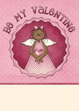 Be My Valentine Greeting Card. Another adorable design with a darker skinned angel vector illustration