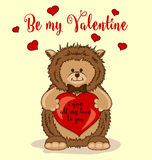 Be My Valentine Greeting Card with Cute Hedgehog Stock Image