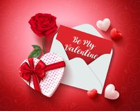 Be my valentine greeting card vector design with love letter, rose and gift Royalty Free Stock Images