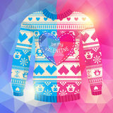 'Be my Valentine' greeting card. Warm sweater with owls and hear. Ts in polygonal style. Pink-Blue version. May be used for winter design, valentine's day Royalty Free Stock Photo