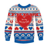 'Be my Valentine' greeting card. Warm sweater with owls and hear. Ts. Red-Blue version. May be used for winter design, valentine's day greeting cards, posters Royalty Free Stock Photo
