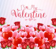 Be My Valentine Greeting Poster with Lots of Red and Pink Hearts. And Flowers. Vector Illustration royalty free illustration