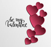 Be my valentine Hand drawn calligraphy and brush pen lettering with frame border Royalty Free Stock Photos